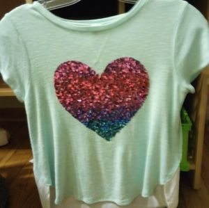 Total Girl Heart Sequined Ombre Tee
